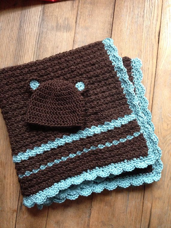 Crochet Pattern Baby Blanket and Hat Set by SweetWishBoutique Spmething like this in gray and yellow?