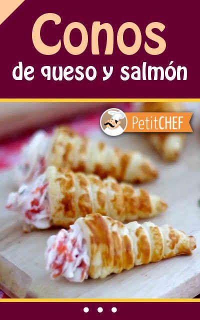 Conos de queso y salmón