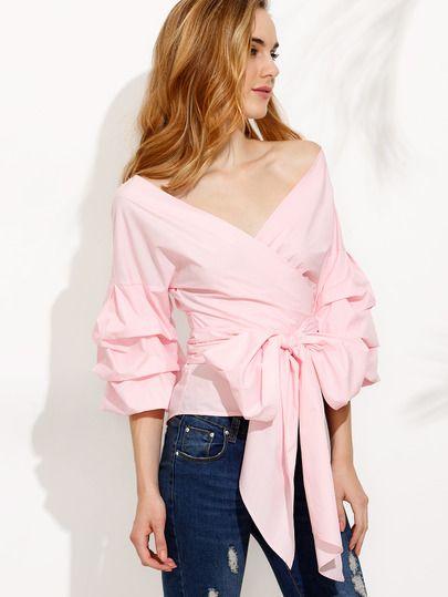 Розовая модная блуза с бантом. рукав клеш