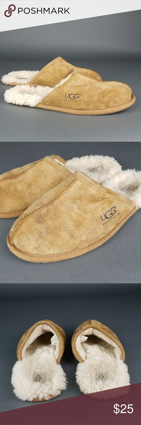 Uggs mens slip ons In good condition has wear and some water marks and some paint marks as well. Still great slippers for outdoor and indoor. UGG Shoes