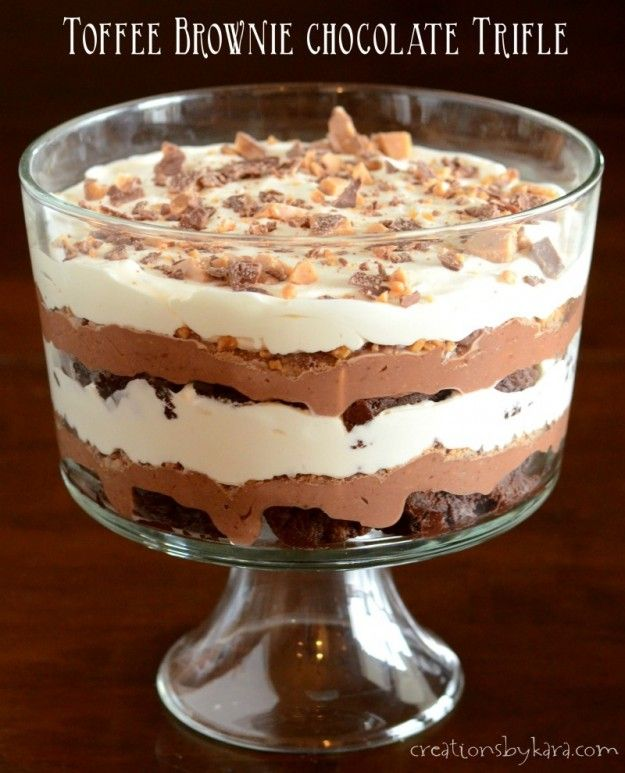 With layers of brownie, pudding, toffee, and whipped cream, this Toffee Brownie Chocolate Trifle will knock your socks off!