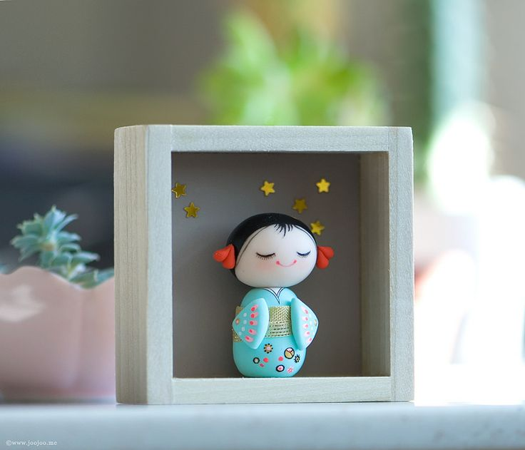 Miniature kokeshi doll by afsaneh tajvidi joojoo · clay figurinepretty