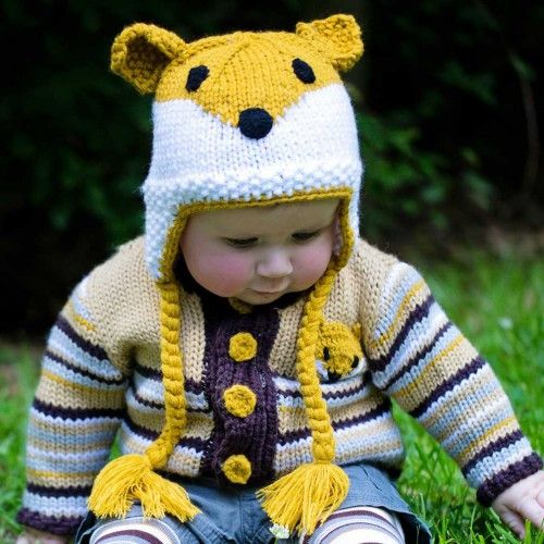 Huggalugs: Beanie Clever Fox Infant/Toddler (Gold/White)