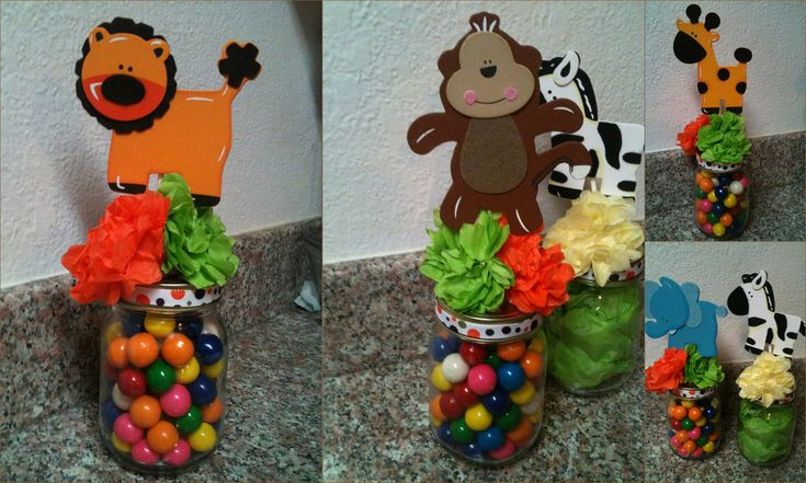 Jungle Safari Jar Centerpieces for Baby Shower Birthday Party Decoration set of 5 fill with candy. $30.00, via Etsy.