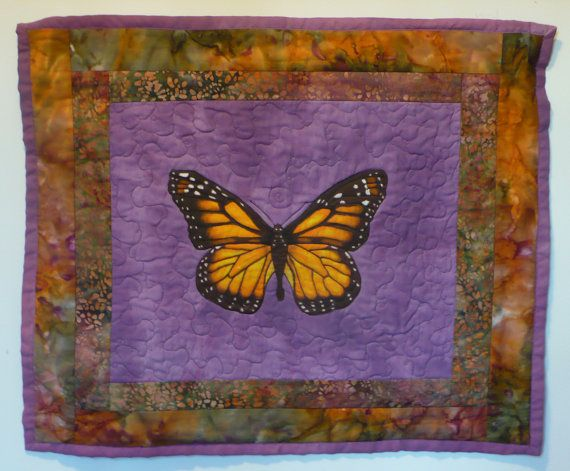 wall hanging quilted hand painted monarch by ellenhowardhandmade