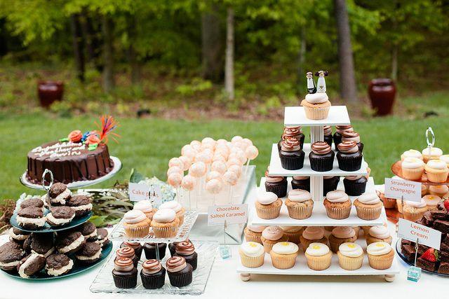 mismatched setup for desserts