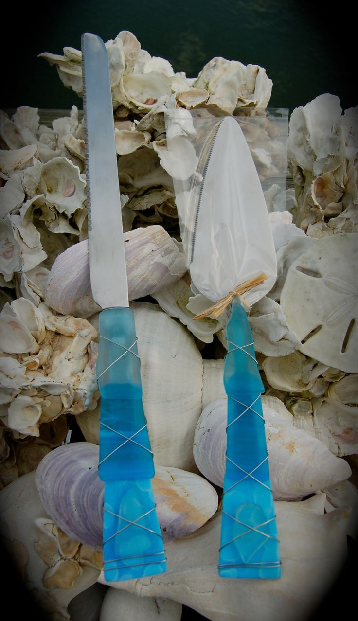 "Sea Glass Wedding Cake Knife & Server made with Recycled Bottle ""Tumbled Island Glass"" in Turquoise Mottled Glass. by greydogstudio on Etsy https://www.etsy.com/listing/123422819/sea-glass-wedding-cake-knife-server-made"