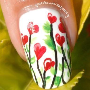 Nail Art Floral Hearts Tutorial