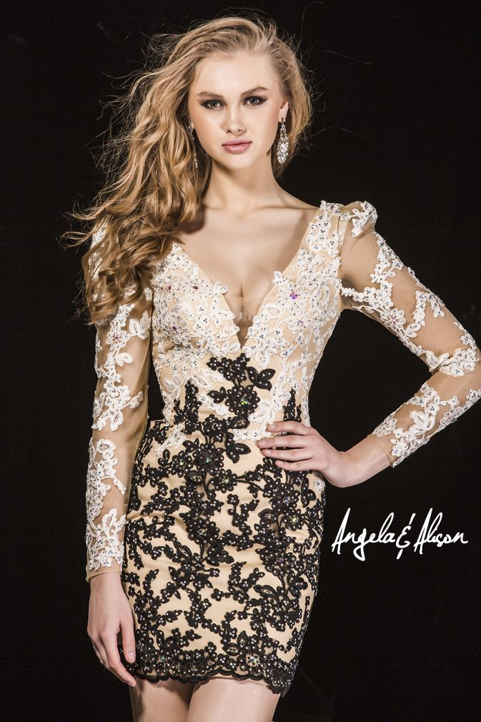 Style 42013 Plunge neckline with multi coloured lace overlay and long sleeves. Perfect for Prom, Homecoming, Gala, Wedding, Formal, Graduation, Ball... etc.