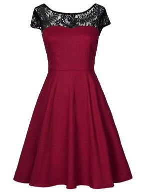 A-line Scoop Neck Lace Satin Short/Mini Ruffles For Cheap Prom Dresses #DGD020103594