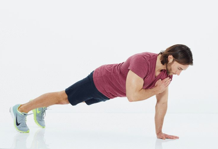 2. Tap-Up - 12 reps:  Start in top of push-up position. Take 3 seconds to lower chest to floor, then push back up quickly. At the top of the move, tap left shoulder with right fingertips. Return hand to floor. Repeat, this time tapping right shoulder with left fingertips. That's 1 rep.