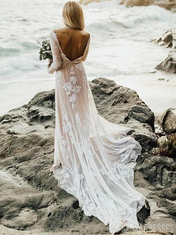 Long Sleeves Backless Lace Boho Wedding Dresses Cheap Wedding Gown Wd688 In 2021 Long Sleeve Wedding Dress Lace Wedding Dresses Lace Wedding Gowns Lace