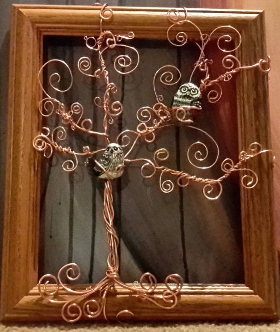 Copper Wire Tree with Owls by LionTreeWireArts on Etsy