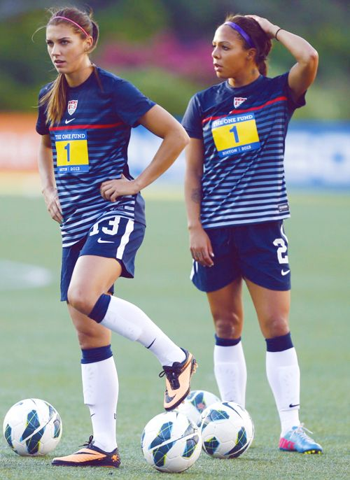 Sydney Leroux and Alex Morgan. I love their shirts!!! wondersoccertowel@gmail.com