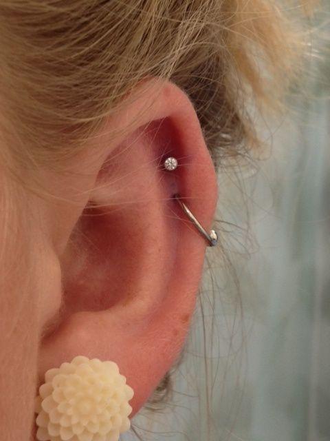 double cartilage piercing hoop - Google Search