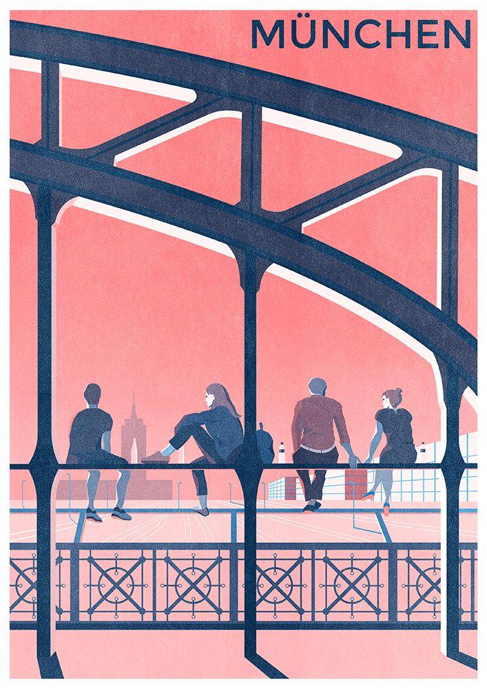 Munich Munchen Riso Print In 2020 Vintage Posters Riso Print Modern Art Prints