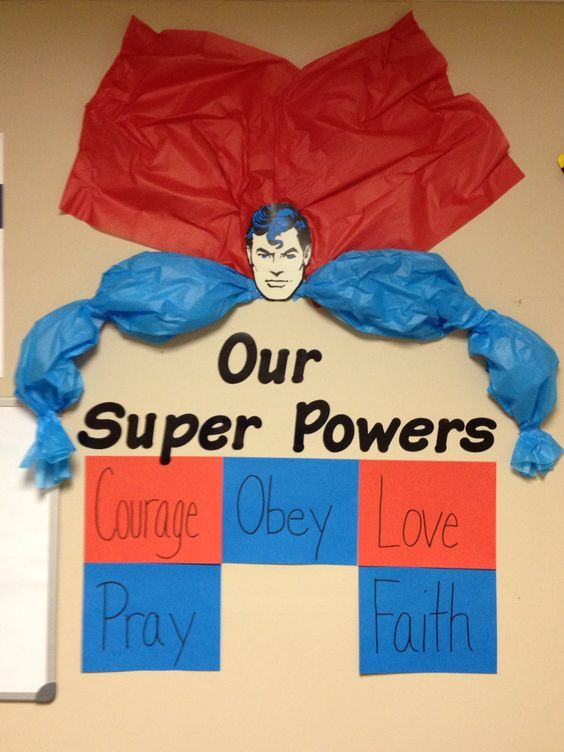 """Sunday school Bulletin Board for our """"Jesus, our real superhero"""" study. Wisdom will go in red at the bottom.:"""