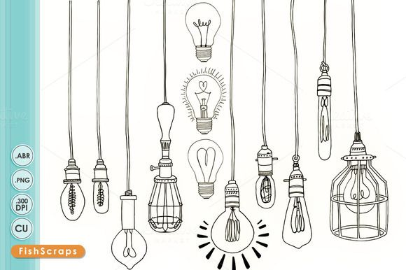 Vintage Edison Light Bulb Clip Art by FishScraps on @creativemarket