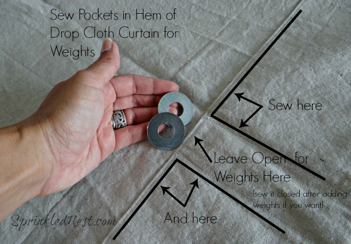 Sew Pockets in Hem of Drop Cloth Curtains for Weights - SprinkledNest