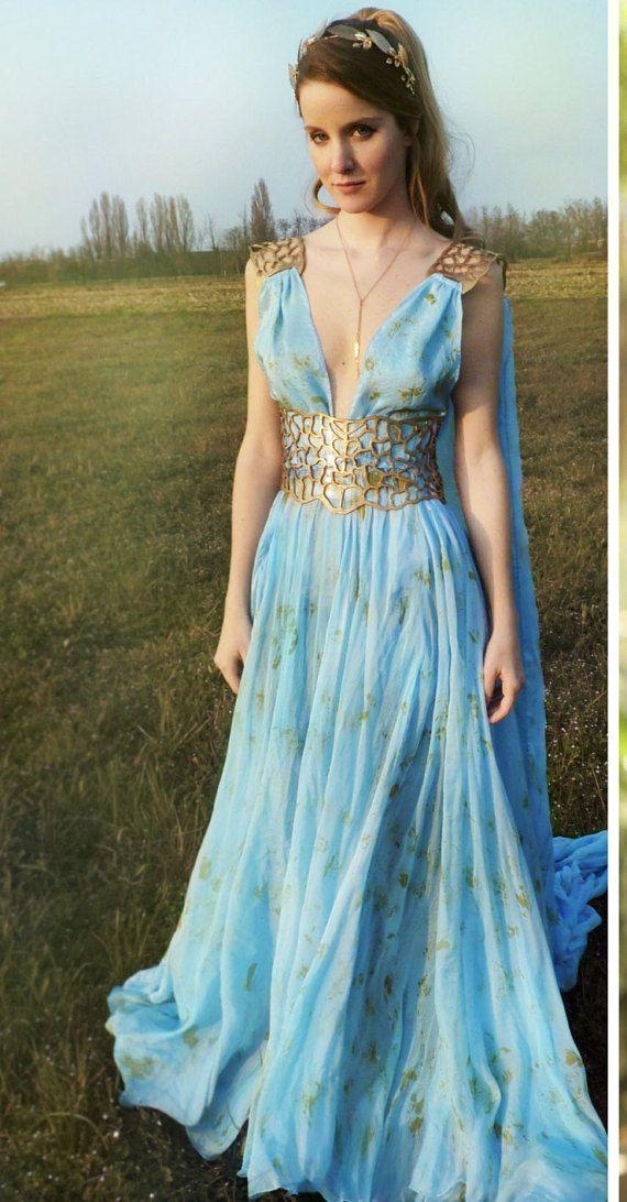 Game Of Thrones Daenerys Qarth Dress Blue With Belt And Cape Etsy Fantasy Dress Greek Dress Blue Dresses