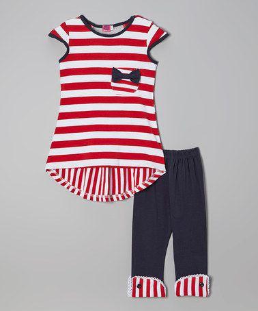 Red & Navy Stripe Bow Top & Leggings - Toddler & Girls #zulilyfinds