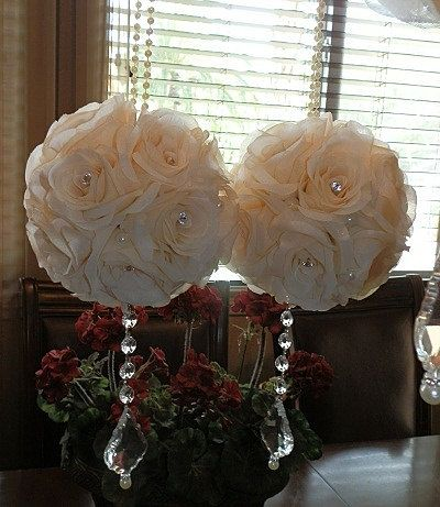 Items Similar To 6 Wedding Pomanders Cream Ivory With Pearl Handle Kissing Flower Decor Pew On Etsy