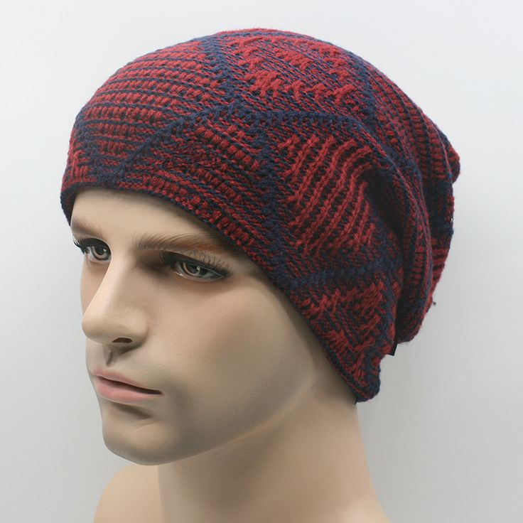 Warm Thick Knit Wool Slouchy Beanies Cap Snowboarding Knitted Winter Hat Dark Red