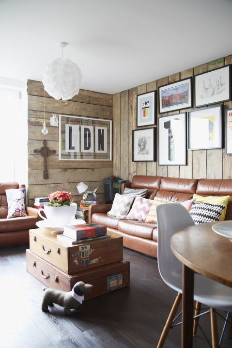 Tom Chalet's Living Room, as featured in Home for Now by Joanna Thornhill: add character to a newbuild apartment by cladding the walls in reclaimed scaffolding boards
