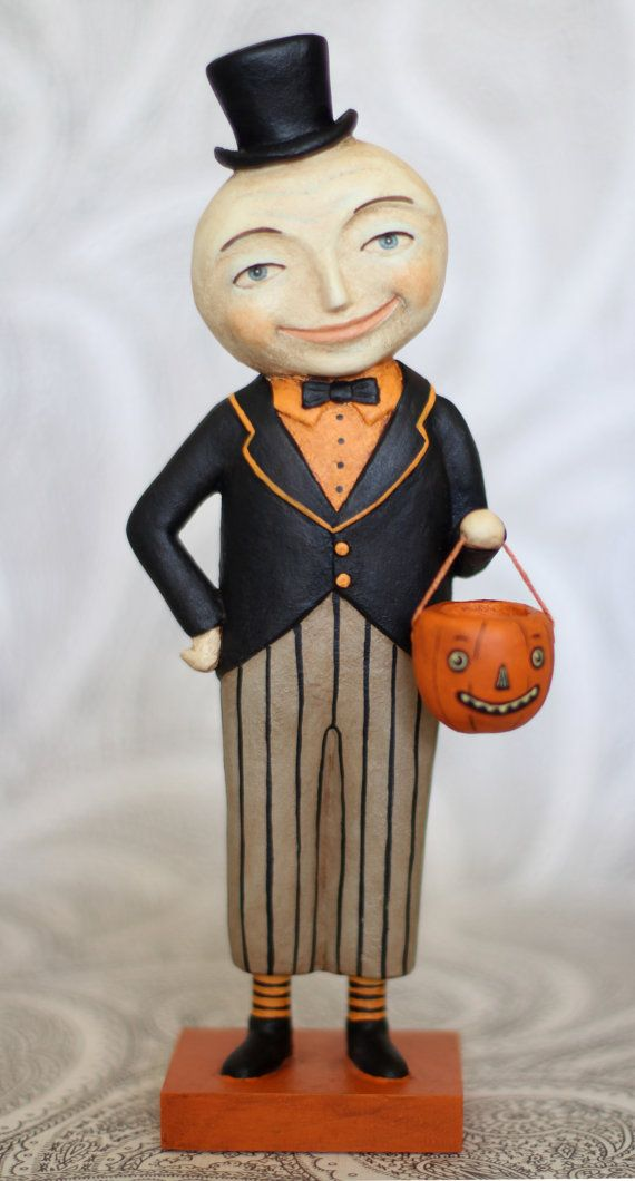 Monte the Moon Man EHAG Halloween Primitive PRIMS Folk Art Original