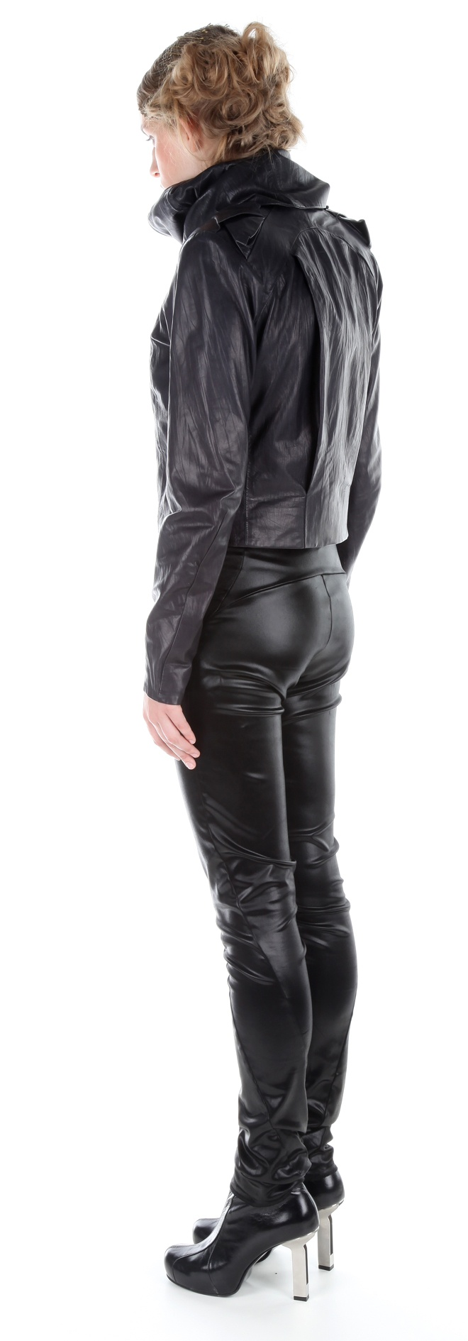 Side view: Jacket ( leather), jumpsuit ( silk satin), shoes ( leather, stainless-steel heel)