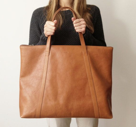 Caryall brown Leather Tote by MISOUI on Etsy, zł1200.00