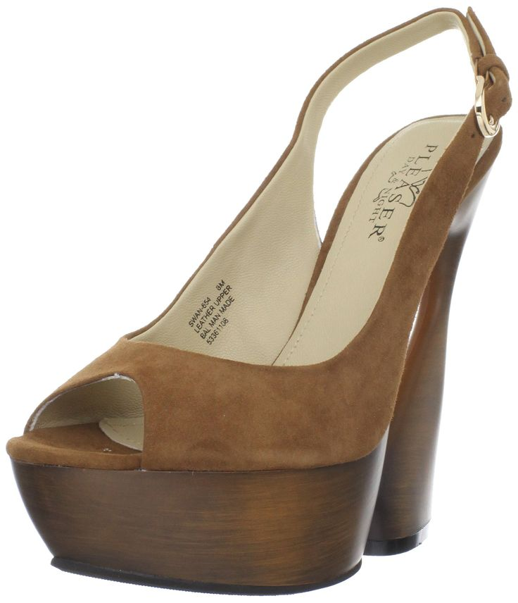 Pleaser Women's Swan-654/COS Platform Sandal,Cocoa Suede,9 M US. Peep-toe sandal with towering platform featuring slingback strap with buckle closure. Sculpted heel.