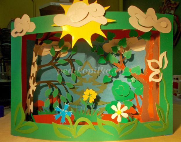 Объемная аппликация для детей 5-7 лет «На лесной полянке» в технике tunnel book. Шаблоны. Мастер-класс с фото