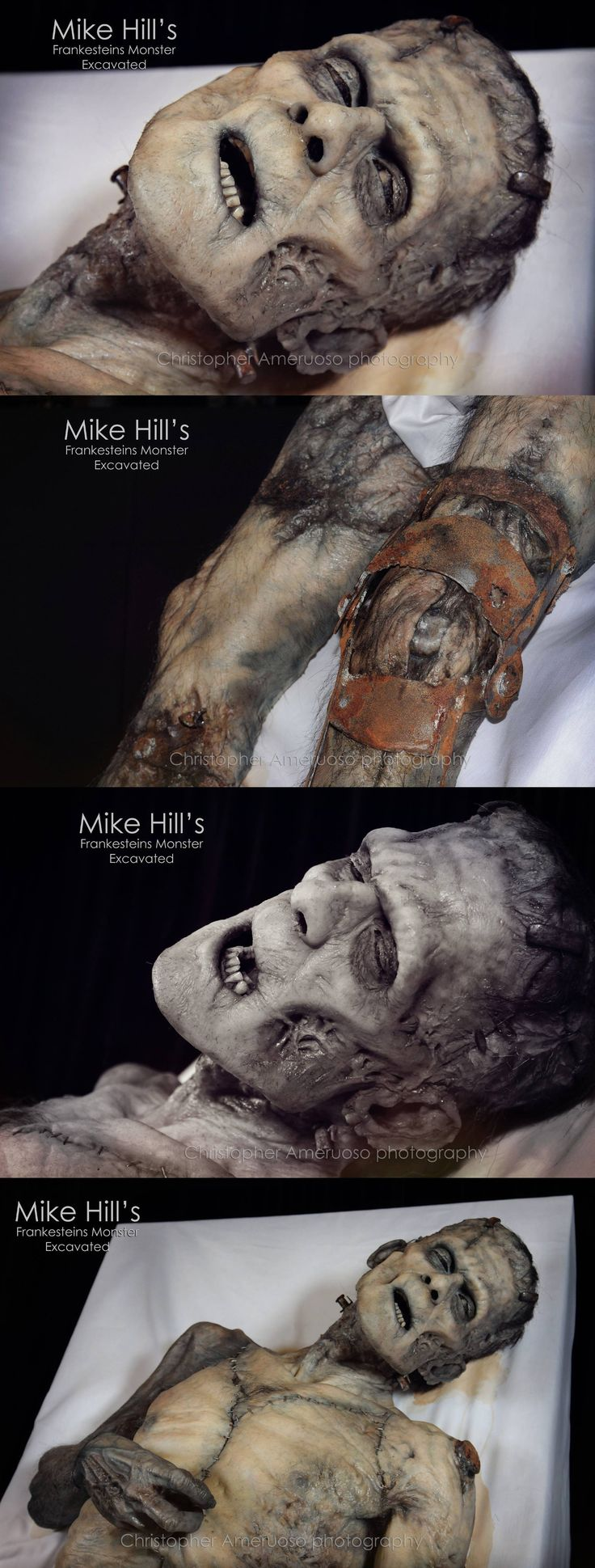 """Monsterpalooza 2014. Mike Hill's amazing """"Frankenstein's Monster Excavated"""".  Amazing textural reference. Decay. Rotten skin, death."""