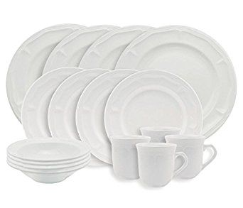 Amazon.com: Empire Collection EMP9001 Simply Stoneware Dinnerware Set, Baroque Rim Imprint, 16-piece, White (Pack of 16): Industrial & Scientific