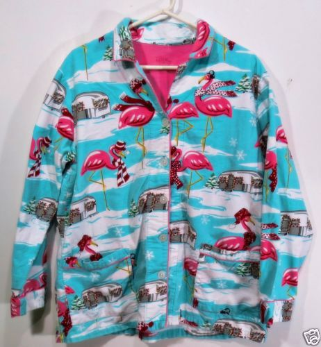 Nick-And-Nora-Vtg-Airstream-Flamingo-Flannel-Pajama-Set-Rare-Size-XXL-2XL