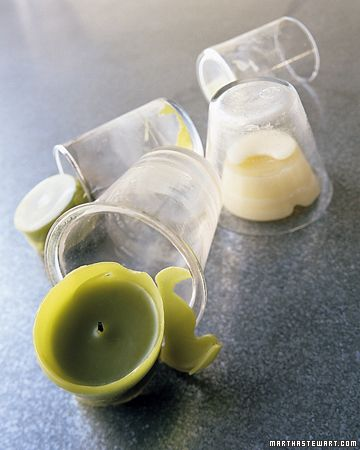 To remove wax from glass candle holders put them in the freezer for a few hours. The wax will shrink just enough to pop out.