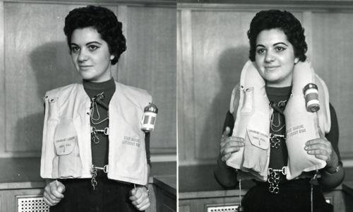 [1965] ARZ Type I0I life vest worn by a woman / Gilet de sauvetage ARZ Type I0I porté par une femme