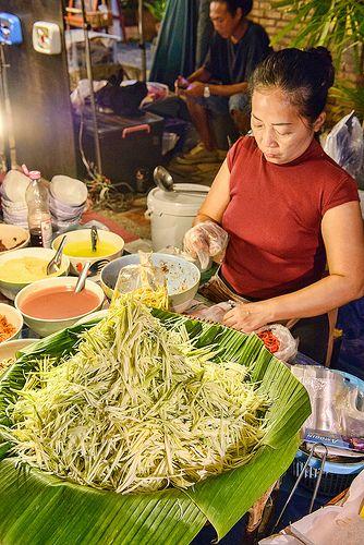 Spicy som tam papaya salad at the night market on Walking Street, Chiang Mai, Thailand