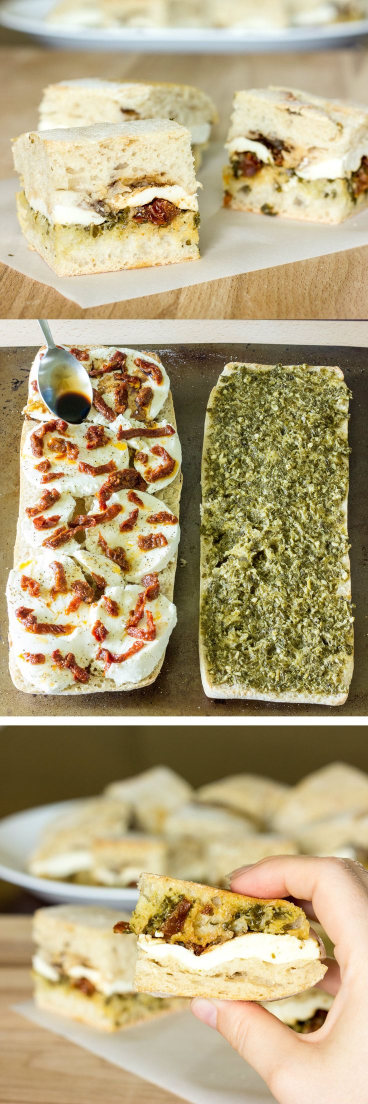 Pressed Caprese Sandwiches - Perfect for a party or barbeque because they can be served cold or at room temperature.
