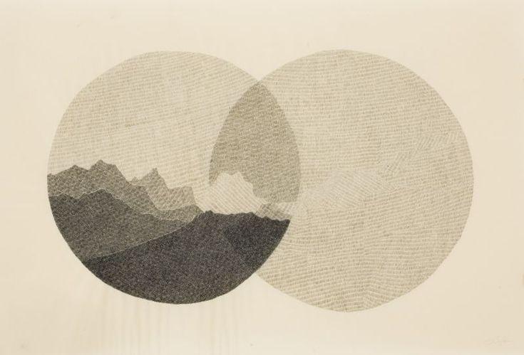 Jonah Sack (b 1978). VENN LANDSCAPE 2011. Ink, coloured pencil on Japanese paper, 63.7 x 94cm.