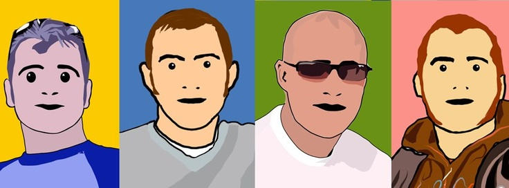 Take on Blur album cover, Me & my 3 brothers.   Julian Opie Style