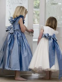 'Mirabelle' in Larkspur and 'Maisy' with Larkspur Sash - why not mix and match your flower girls - it looks stunning and completely original!