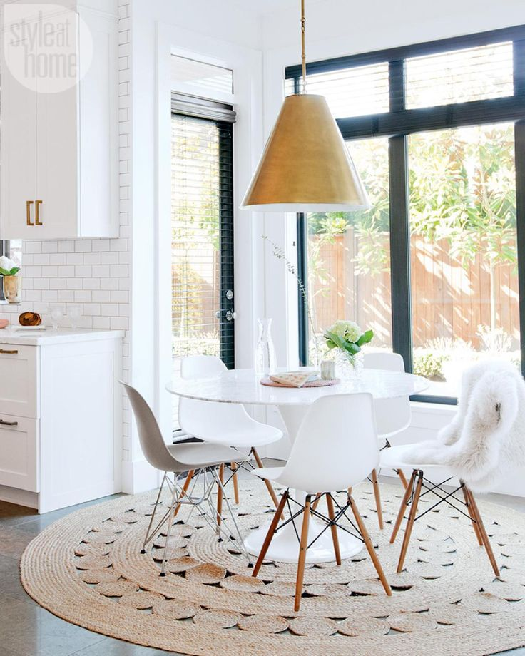 ST6 | White dining area | White kitchen | White Kitchen Ideas | White | Eames Style Chair can be purchased on our website (: http://onebigoutlet.com/catalogsearch/result/?cat=0&q=plastic+chair