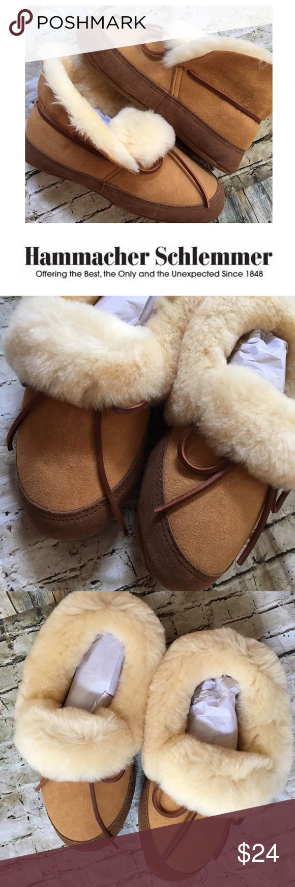 "NEW HS Androscoggin Sheepskin Slippers Size XS NEW Hammacher Schlemmer Size XS Women's 7.5-8.5 slippers are made of genuine Australian sheepskin and offer exceptional comfort and warmth. Suede uppers and sidewalls are bolstered with extra insole padding for a more cushioned feel. The midsole is 1/2"" high-density foam, topped by a 1/8"" layer of memory foam that molds to your foot. My daughter had these on her wish list, got them and never wore them. They are on HS right now for $90. No box…"