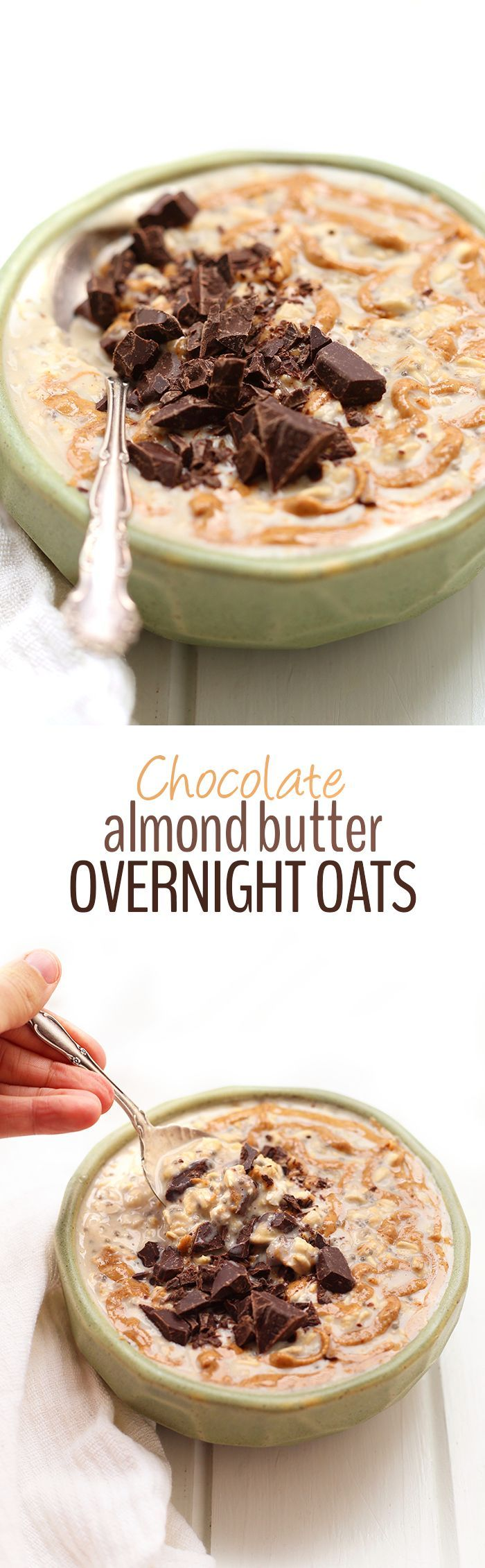 A simple and easy breakfast recipe, this Chocolate Almond Butter Overnight Oats will become a new morning favorite. Just throw all the ingredients into a jar and let it sit overnight for a healthy and fun breakfast in the AM!