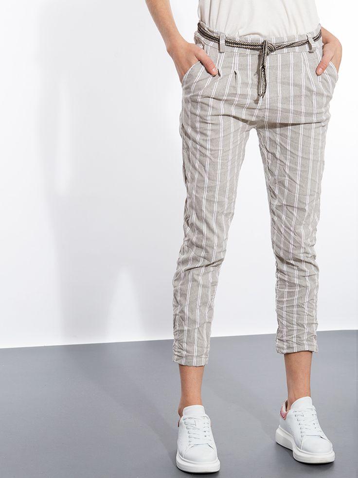 Ριγέ παντελόνι από βισκόζη με ζώνη κορδόνι  | Για αγορά πατήστε πάνω στην εικόνα