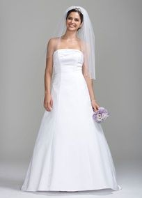 Simple yet elegant, modern yet traditional. This gorgeous satin gown features a strapless bodice with beaded knot detail. A--line skirt is very flattering on all body types. Sweep train. Shown with slip style 603. Fully lined, Back zip. Imported Polyester. Dry clean. Available in White or Ivory.  To protect your dress, our Non Woven Garment Bag is a must have!