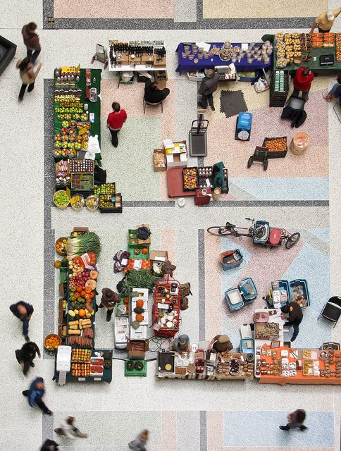 Market floor  ::  Winter farmers market, CBC atrium   By BruceKMarketing Floors, Cbc Atrium, Farmers Marketing, Aerial Photography, Birds S Ey View, Birds Eye, Desde Arriba, Aerial View, Eye View