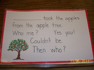 Themed classroom books - apples, fall, thanksgiving, chicka chicka boom boom (great way to learn classmates' names/spelling!)